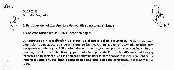 Extracto de uno de los borradores de negociaciones entre Colombia y las FARC