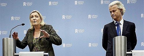 Marine Le Pen y Geert Wilders presenta la campaña común para las elecciones europeas