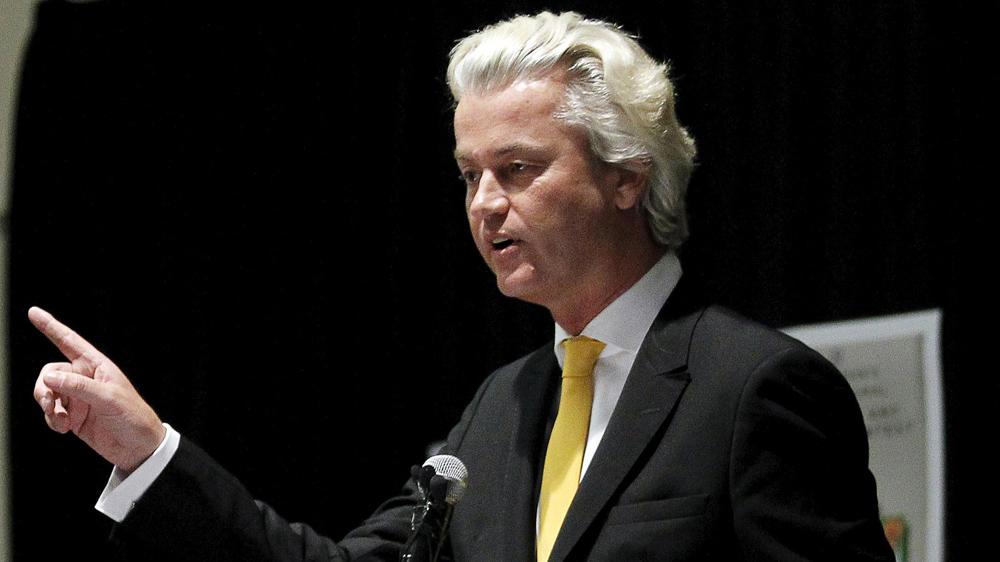 El político xenófobo holandés Geert Wilder habla en la exposición de caricaturas de Mahoma en Garland, Texas. Foto: Reuters/Mike Stone