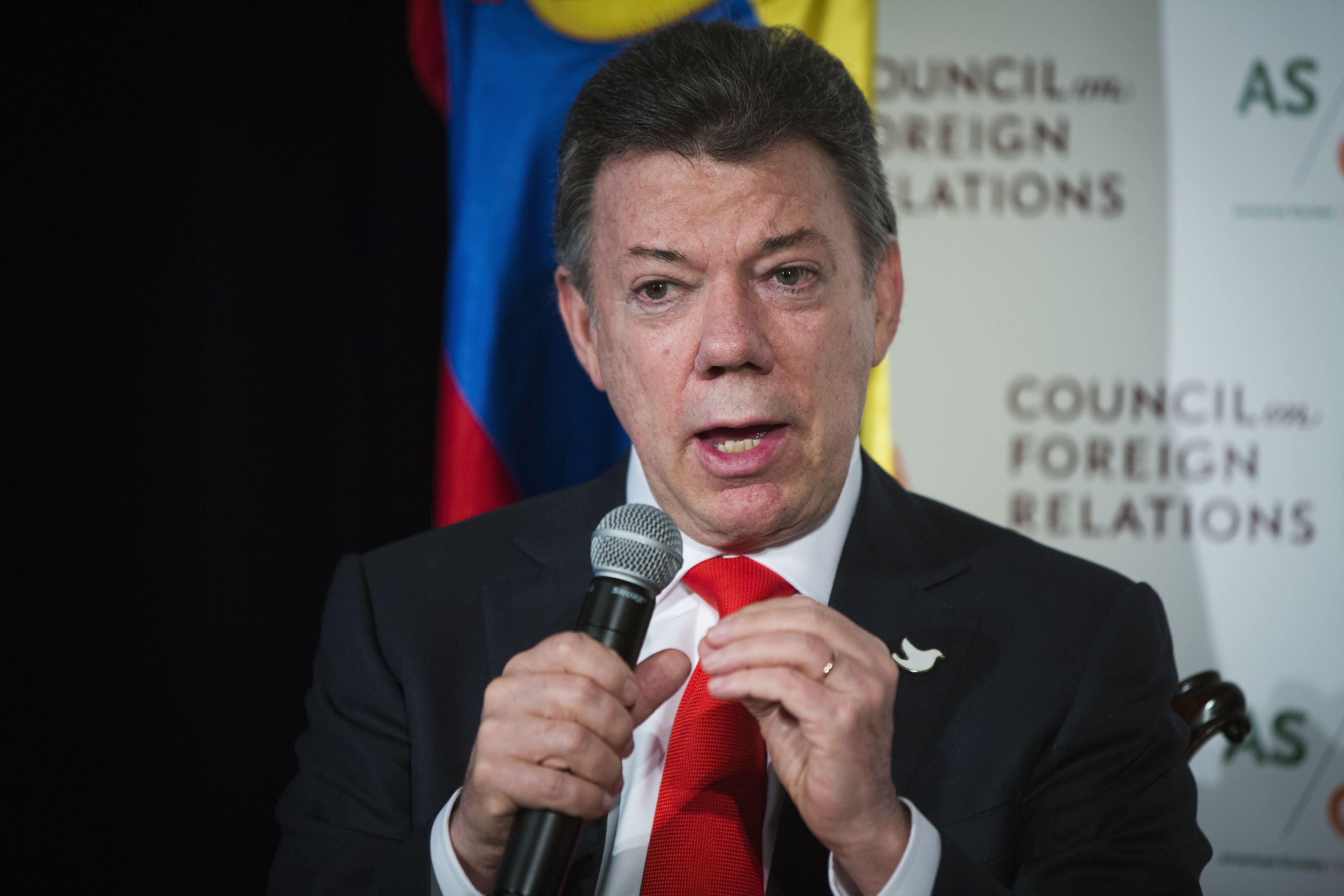 El presidente de Colombia, Juan Manuel Santos, en Nueva York