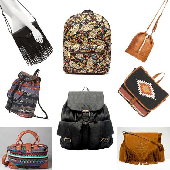 Bolsos y mochilas con aires hippies