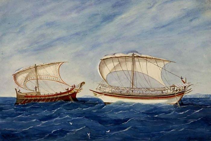 Representación de embarcaciones griegas y etruscas