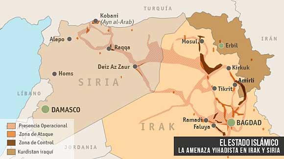 Mapa de la penetración del Estado Islámico en Irak y Siria