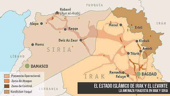 Mapa de las conquistas del EI en Irak y Siria