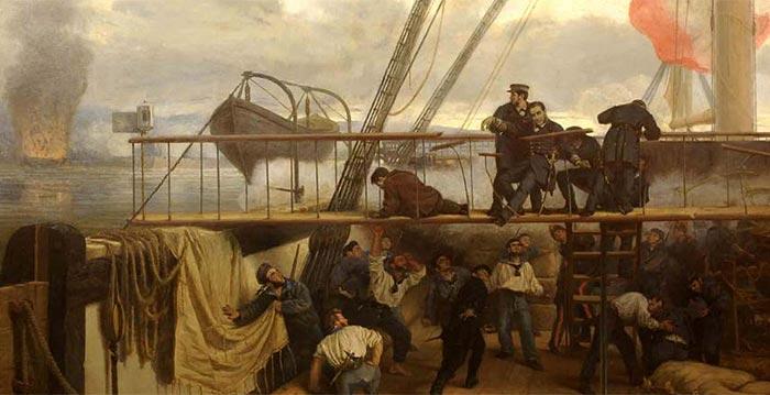 La fragata Numancia, durante el combate de El Callao