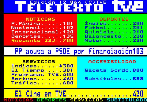 Teletext - TVE - další strana 101